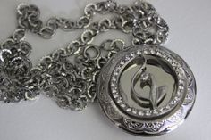 Baby Phat Rhinestone Cat Recycled Silver Chain Large Locket Fashion Costume Jewelry Necklace