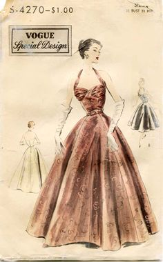 1950s Evening Dress Pattern Vintage Vogue Special Design S4270 Glamorous and Dreamy After Five Gown with Halter Top. $90.00, via Etsy.