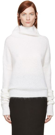 Haider Ackermann  Ivory Boatneck Sweater  52542F000027 Long sleeve ribbed knit mohair sweater in ivory white. Roll-down boatneck collar. Tonal stitching. 67% mohair, 28% nylon, 5% wool. Made in Belgium.