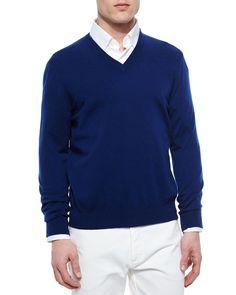 Premium Cashmere V-Neck Sweater, Navy, Size: XL - Ermenegildo Zegna