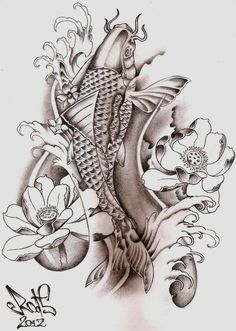 Koi Fish tattoo sketch by hilcar2