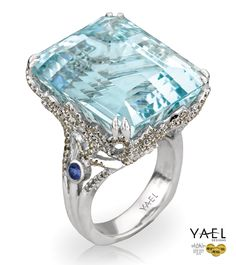 Item# 08480 18k white gold #customdesigned #ring featuring 50.63 carat aquamarine, accented with 0.30 carat blue sapphires and 1.52 carats of brown and 0.44 carats of brilliant cut diamonds. MSRP: $16445(excluding aquamarine and sapphires) #aquamarine #sapphire #diamondring #18k #designerring