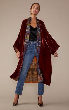 Exclusive Silk Geometric Reversible Coat by Rianna + Nina Kimono Fashion, Boho Fashion, Winter Fashion, Fashion Dresses, Looks Style, My Style, Mode Kimono, Mode Abaya, Country Fashion
