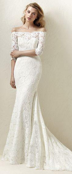 Junoesque Lace Off-the-shoulder Neckline Natural Waistline Mermaid Wedding Dress