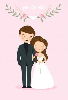 Cute Couple Bride And Groom For Wedding Invitation Card Bride And Groom Cartoon, Wedding Couple Cartoon, Cute Couple Cartoon, Cute Love Cartoons, Free Wedding Invitation Templates, Wedding Invitations With Pictures, Wedding Invitation Card Design, Bridal Pictures, Wedding Caricature