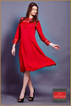 Look like a beautiful damsel in our gorgeous flowy red dress available only at Options. #Juhu #Fashion #Andheri #Pretty #Nice #Beautiful #Red Dress #Love
