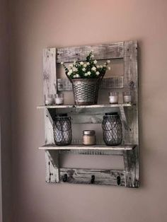 Rustic Farmhouse Decor Shelf Main From Sideboardstore - Rustic Farmhouse Shelf Made Out Of Real Wood Nails And Screws Handmade Stained And Whitewashed For That Real Farmhouse Design Two Shelves Three Hooks And Two Wall Hangers All Adorn This Real Farmhouse Style Kitchen, Farmhouse Interior, Country Farmhouse Decor, Farmhouse Design, Modern Farmhouse, Rustic Design, Country Kitchen, Country Modern Decor, Rustic Farmhouse Furniture