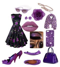 """""""Purple Pinup"""" by farmgirl3535 on Polyvore featuring Accessorize, Chicnova Fashion, Marc Jacobs, Yves Saint Laurent, Lime Crime, Marc by Marc Jacobs, Banana Republic, Quay and Bling Jewelry"""