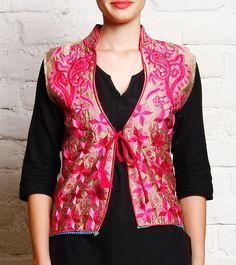 Pink & Beige Embroidered Phulkari Cotton Jacket