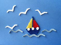 Sailboat, Seagull and Waves Crochet Appliques