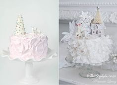 Pastel Christmas Cake on Cake Geek Magazine Online by Sprinkle Bakes left & via Shabbyfufu right.