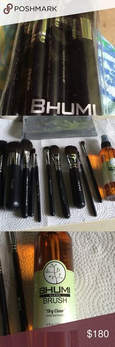"$✂️ never used Bhumi makeup brushes 10 brushes. Never used. I used gloves to take them out of bag to take pictures.     Brushes as follows: All Over Powder, Genius Face, Brilliant Blush & Contour, Perfect Crease & Blending, Exact Brow & Liner, Mega Shadow, Precision Foundation, Smart Foundation, Defining Shadow, Perfecting Concealer.  Pouch 4""x8"". Also include 4 oz bottle of Bhumi Clean Brush Dry Clean.   Hypoallergenic, Manmade fibers. Bhumi Makeup Brushes & Tools"