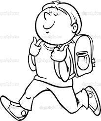 Vysledek Obrazku Pro Skolak Omalovanka Student Clipart Clipart Black And White Black And White Cartoon