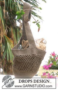 Hæklet DROPS taske i «Bomull-Lin» ~ DROPS Design