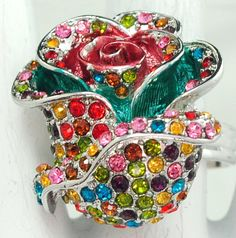 Multicolor Rose Ring/Rhinestone/Pink/Colorful/Spring/Summer