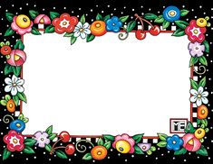 perfect for my Mary Engelbreit Dollhouse / Dots & Flowers Name Tags Mary Engelbreit, Flower Frame, My Flower, Images Gif, Bing Images, Borders And Frames, Art Plastique, Homemade Cards, Paper Dolls