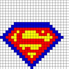 Superman Fusebead Perler Bead Pattern | Bead Sprites | Characters Fuse Bead Patterns- use as template for crochet