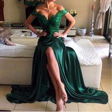 Vert émeraude Robe de Soirée 2016 de L'épaule Appliqued avec Dentelle Long…
