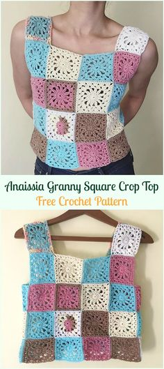 Anaissia Granny Square Crop Top Free Crochet Pattern - #Crochet; Women #CropTop; Free Patterns