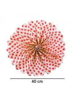 Kırmızı Puantiyeli PonPon Süs (40 cm)