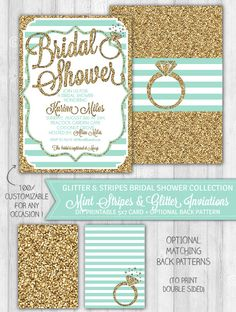 Mint Bridal Shower Invitation, Mint & Gold Glitter Bridal Shower Invitation, Teal Turquoise Bachelorette Invitation - DIGITAL PRINTABLE FILE by LaBelleStudio on Etsy https://www.etsy.com/listing/195263488/mint-bridal-shower-invitation-mint-gold