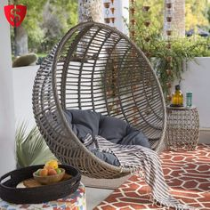 Egg Swing Chair Hanging Outdoor Patio Furniture Stand Shape Seat Wicker  Swinging