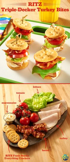 The kids will love coming home from soccer practice to these RITZ Triple Decker Turkey Bites! Top an Everything RITZ cracker with mayo, turkey, and an original RITZ. Add lettuce, tomato and bacon, topping with another Everything RITZ cracker. It's a great snack to tide the family over until dinner.