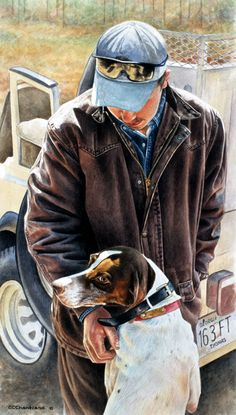 """""""Getting Ready to Go"""" A watercolor of one of the dog handlers near Thomasville, GA."""