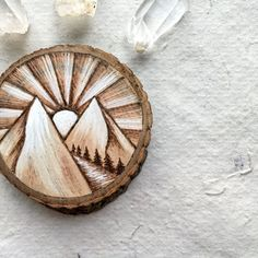 Sunrise Walk in the Mountains Woodburned // Wood Wall Piece // Magnet // Twine Hanging from GracemereWoods on Etsy. Wood Burning Crafts, Wood Burning Patterns, Wood Burning Art, Rock Crafts, Crafts To Do, Christmas Wood, Christmas Crafts, Wood Burn Designs, Old Book Crafts