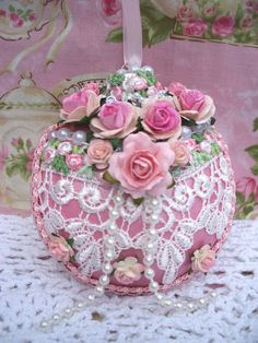 Shabby Pink White Christmas Ornament Venise Lace Pink Roses Pearls | eBay