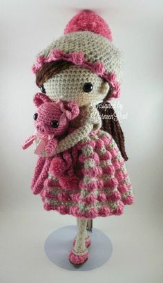 ❤ May and her piglet Amigurumi Doll Crochet Pattern by CarmenRent