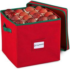Amazon.com: Durable Non-Woven Christmas Ornament Storage Box with Removable lid, Stores up-to 64 Standard Holiday Ornaments & Xmas Decorations For Seasons To come - 12 x 12 Inch 4 Layer Ornament Storage Container Christmas Ornament Storage, Ornament Storage Box, Holiday Storage, Unique Christmas Ornaments, Ornament Box, Christmas Bags, Wreath Storage, Easy Storage, Storage Boxes With Lids