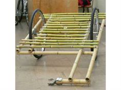 Bamboo Bike Cart. Image linked to free DIY instructions (PDF) from Carry Freedom. #bikes #diy #green