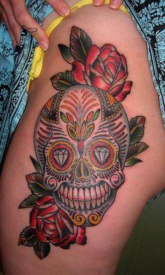 Love these sugar skull tattoos