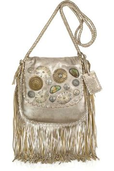 The Ralph Lauren Collection Embellished Fringed Leather Shoulder Bag #nautical trendhunter.com