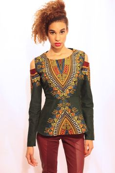 Hey, I found this really awesome Etsy listing at https://www.etsy.com/listing/170282888/dashiki-peplum-shirt-with-shoulder