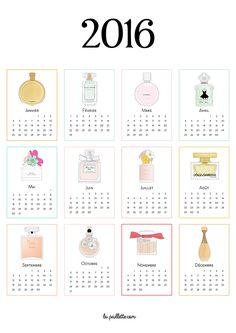 Calendrier 2016 complet à imprimer parfums illustrations fragrance drawing…