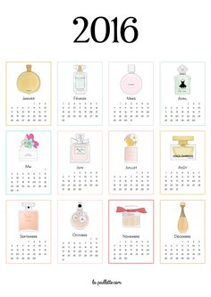 Calendrier 2016 complet à imprimer parfums illustrations fragrance drawing printable calendar free illustration drawing Calendrier 2016 complet à imprimer parfums fragrance dior chanel chance miss dior chérie valentina dolce gabbana chloé la petite robe noire daisy marc jacobs dior j'adore coco mademoiselle illustration drawing dessin blogueuse blogger illustratrice BD french free printable print affiche