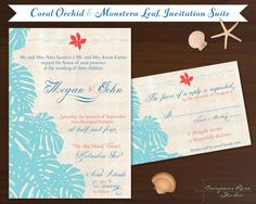 Hawaiian Wedding Invitation Suite  Tropical by CompassRoseStudio