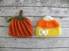 Twin boy/girl Halloween hats. Twin boy pumpkin hat and girl candy corn hat. Newborn baby Halloween twin photo prop hats.