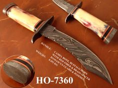 """10""""Damascus steel Hunting Knife, For more detail contact kmatraders2014@gmail.com"""