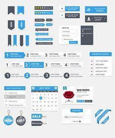 Free Clean UI Kit by Peter Olexa, via Behance