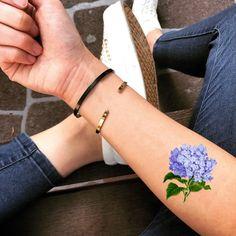 Hydrangea Temporary Fake Tattoo Sticker (Set of Fake Tattoos, Mom Tattoos, Pretty Tattoos, Small Tattoos, Tatoos, Future Tattoos, Small Butterfly Tattoo, Flower Wrist Tattoos, Flower Tattoo Designs