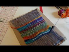 Make a kid's weaving loom from cardboard, part 2 - видео онлайн Pin Weaving, Weaving For Kids, Weaving Art, Loom Weaving, Tapestry Weaving, Fiber Art Quilts, Weaving Projects, Woven Wall Hanging, Weaving Techniques