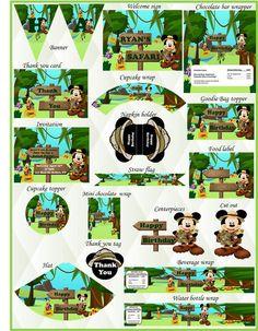 Mickey Mouse Safari. Mickey Mouse Birthday. Mickey Mouse Invitation. Mickey Mouse Birthday Invitation