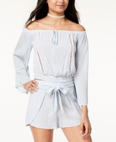 American Rag Juniors' Striped Off-The-Shoulder Crop Top, Created for Macy's - White XXL