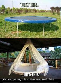 DIY trampoline bed.