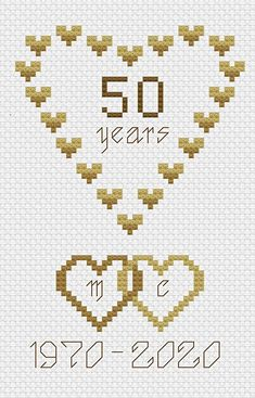 Wedding Cross Stitch Patterns, Easy Cross Stitch Patterns, Cross Stitch Borders, Simple Cross Stitch, Cross Stitch Designs, Cross Stitching, Cross Stitch Embroidery, Grandes Photos, 50th Birthday Cards