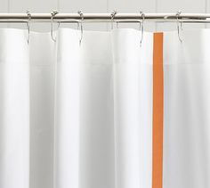 Morgan Banded Shower Curtain, 72x72, Clementine