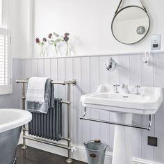 Heritage Bathroom Furniture Elegant Grey Traditional Bathroom with Dark Wood Flooring – Most Popular Modern Bathroom Design Ideas for 2019 Bathroom Sconces, Bathroom Wall, Small Bathroom, Bathroom Ideas, Bathroom Grey, Bathroom Renovations, Bathroom Paneling, Bathroom Cladding, Classic Bathroom